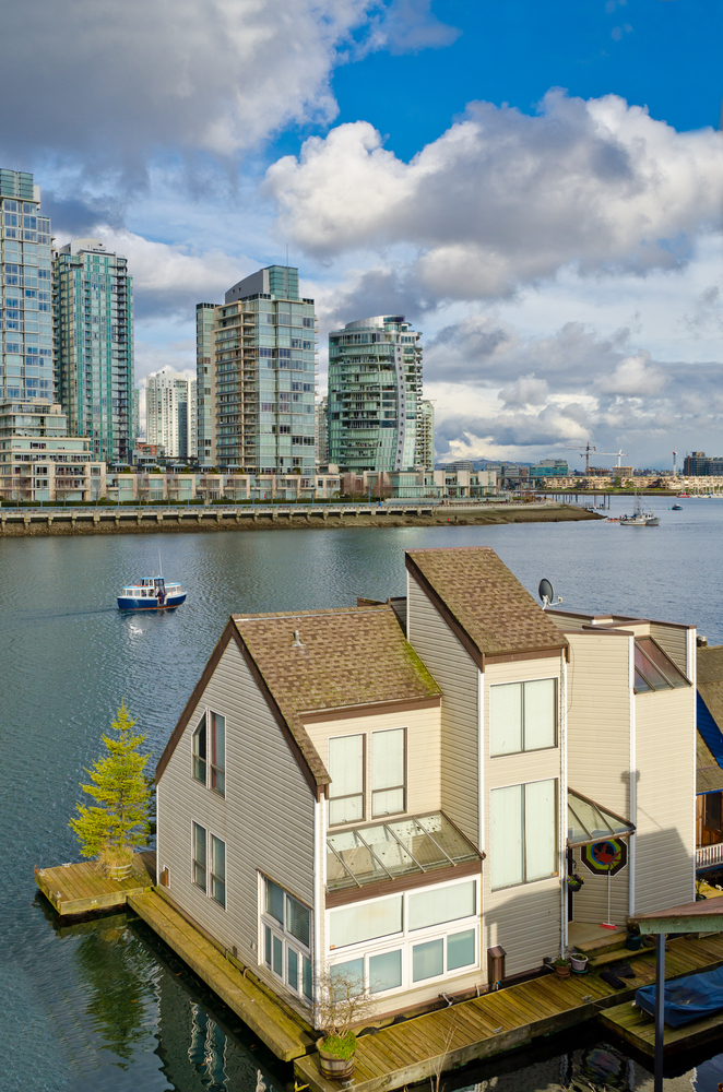West Coast floating house in False Creek downtown Vancouver, British Columbia