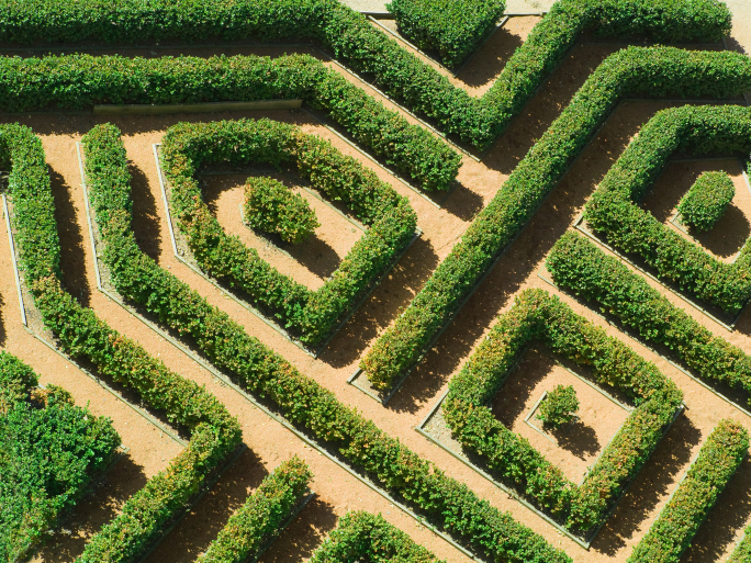 Extensive Hedge Maze Garden Viewed From Above