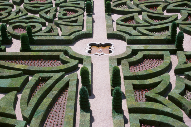 Precisely planned and crafted series of garden shapes and mazes