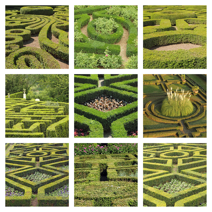 Picture collage of 9 popular garden mazes