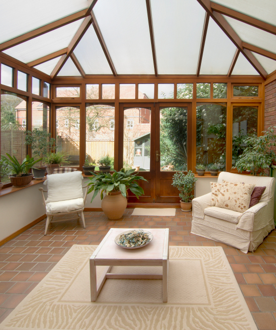 House Additions Ideas A Sunroom Over The Ravine: Interior Of Large Gazebo With Red Brick Floor And