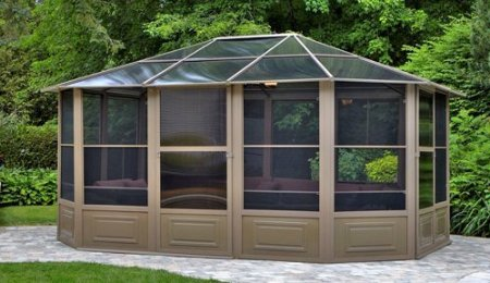 Screened Rectangle Aluminum Gazebo