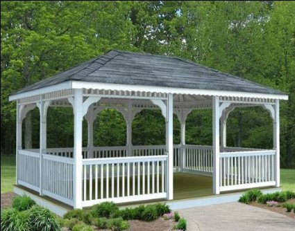 Vinyl Rectangle Gazebo with Single Roof in White