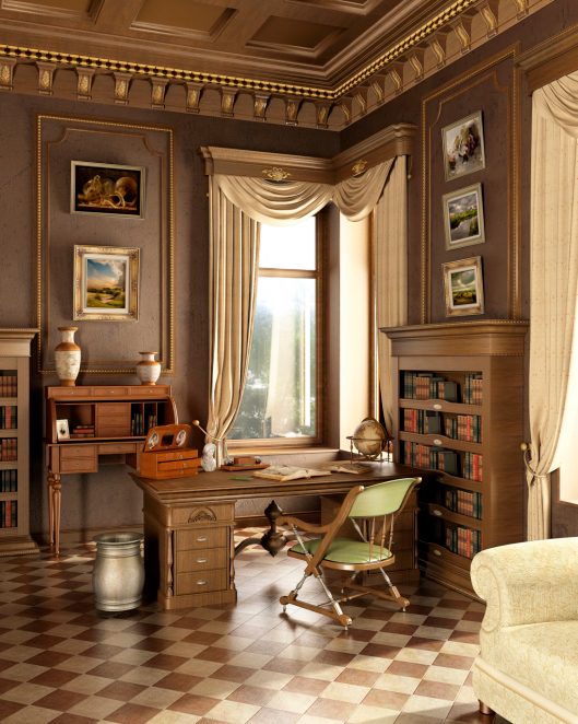 Luxurious home office with tile floor, crown molding on the ceiling and antique office furniture. Sitting area to the side