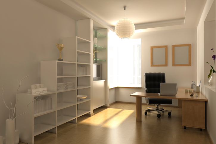 White home office with white book shelves and small work desk