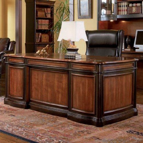 2-toned large wood desk on rug