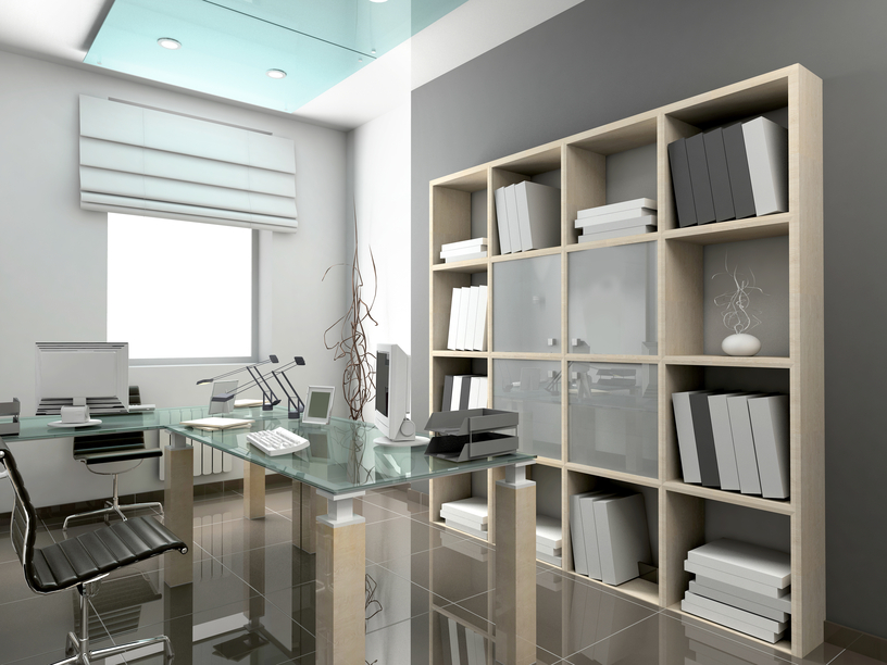 Modern Home Office In Grey Color Design With Glass Topped Desk Modern