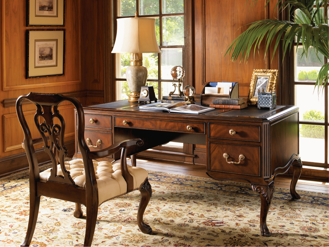 Home Office With Wood Paneling On Walls And Antique Office Furniture