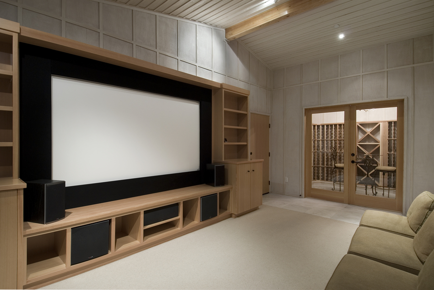 Picture of cozy and simple home entertainment room