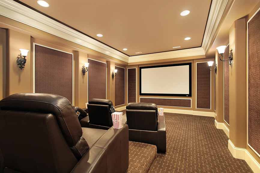 Picture of stadium seating home theater room