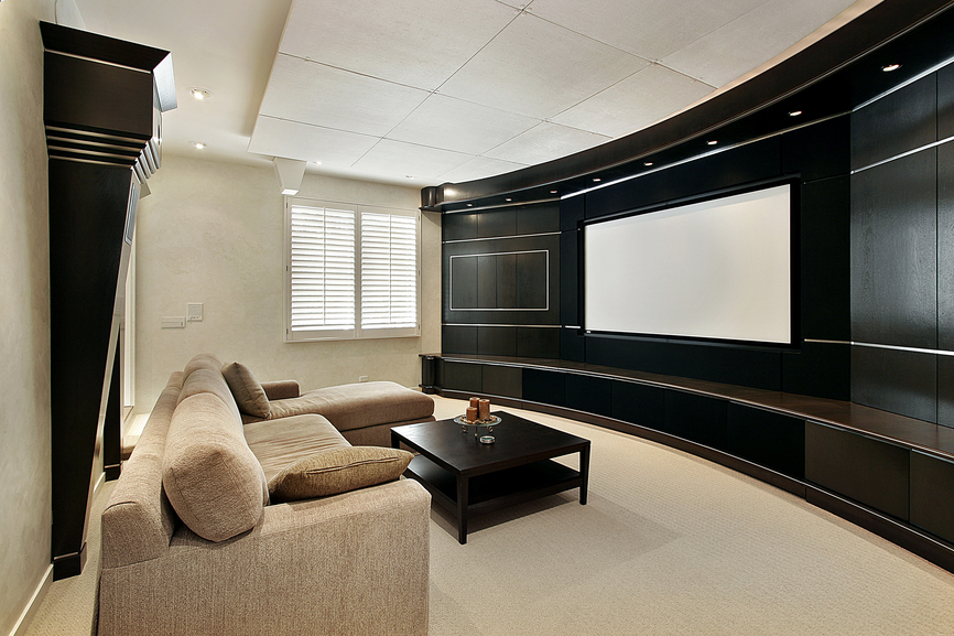 Home TV room with sectional sofa