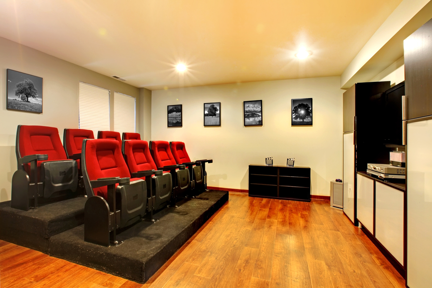 small home theater with stadium seating for 8 people - Home Theatre Design Ideas