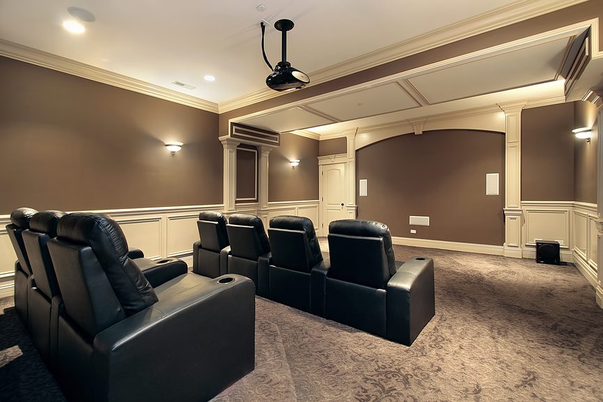 Large stadium seating in luxury home theater and media room