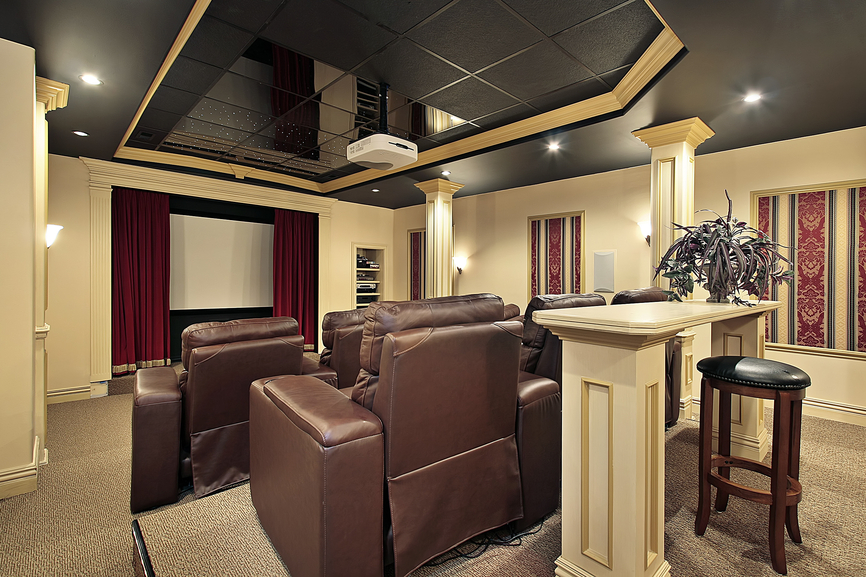 stadium seating home theater with classical interior design picture - Home Theatre Design Ideas
