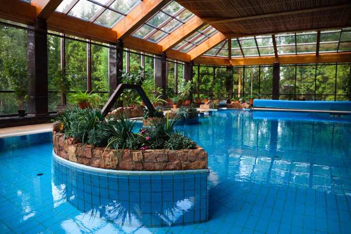 large home indoor swimming pool design with glass structure - Indoor House Pools