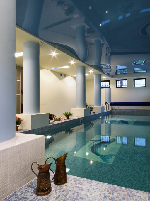Roman Style Indoor Swimming Pool With Columns And Marble Floor   A Very  Nice Pool