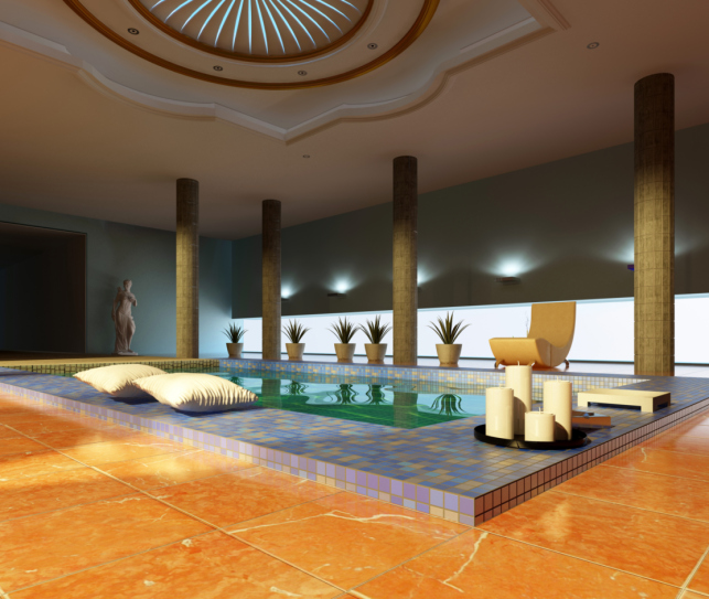 stylish inside pool room design with orange marble deck modern support columns and domed ceiling