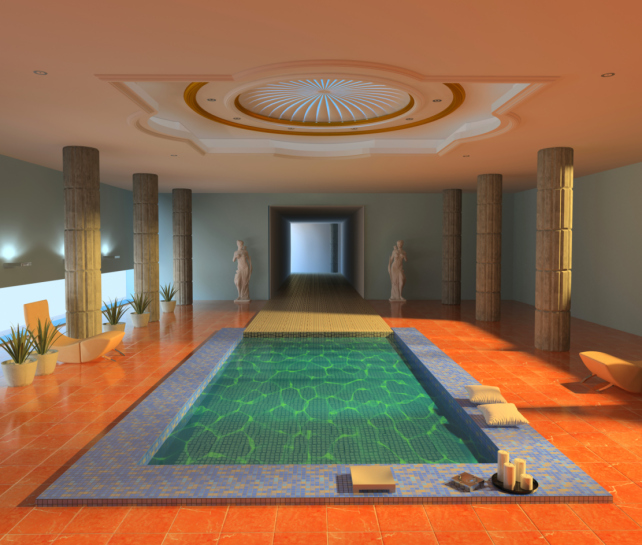 indoor pool with orange deck and domed ceiling