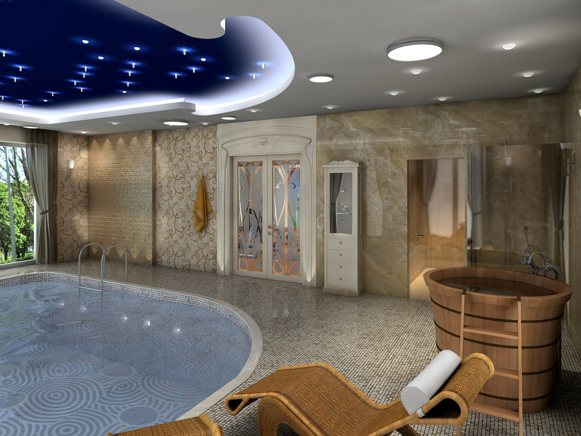 Grecian Style Indoor Pool With Statues And Pot Lighting Stylish Pool Inside  Of Home With Funky Ceiling And Elegant Patio Seating Part 74