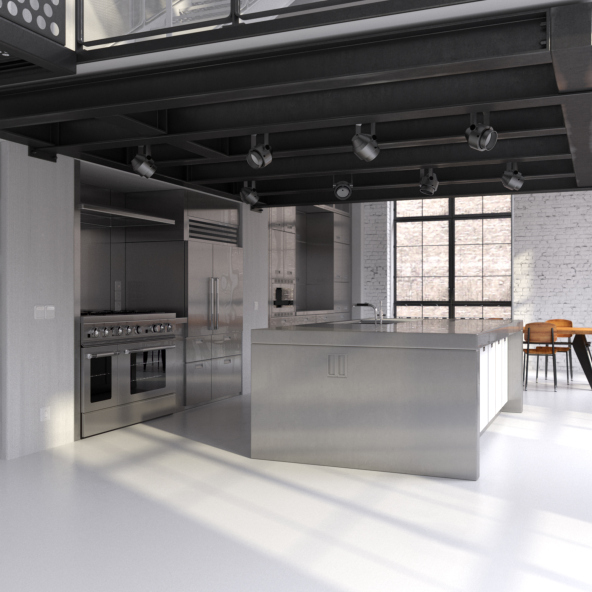 industrial apartment design with open kitchen stainless steel island and exposed wood beams