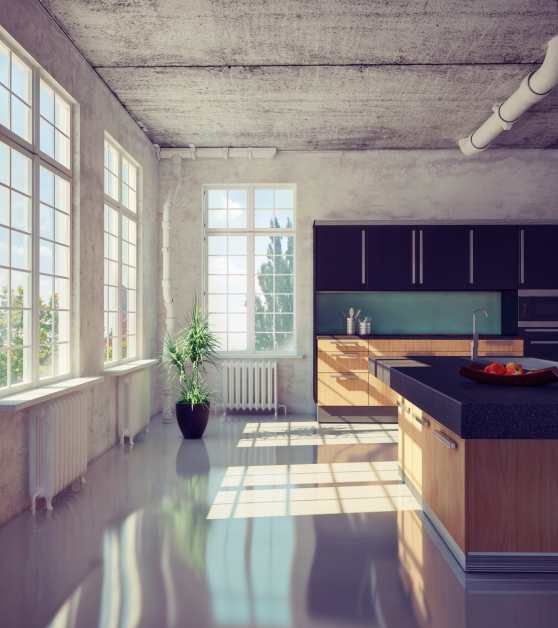 Kitchen with concrete ceiling and exposed pipes