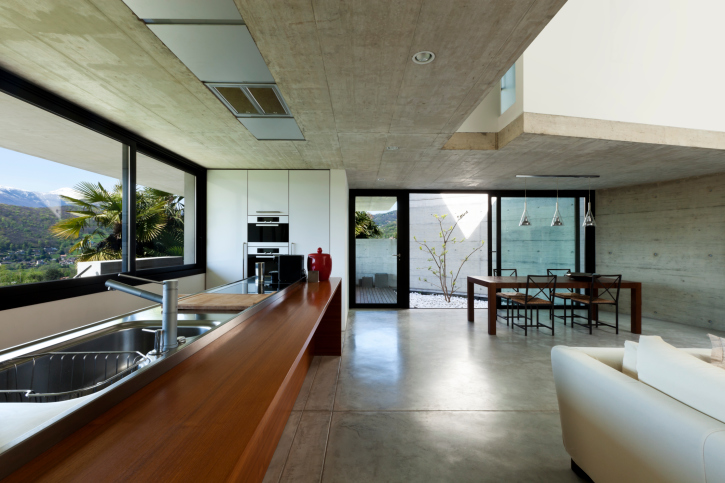 Concrete kitchen interior design