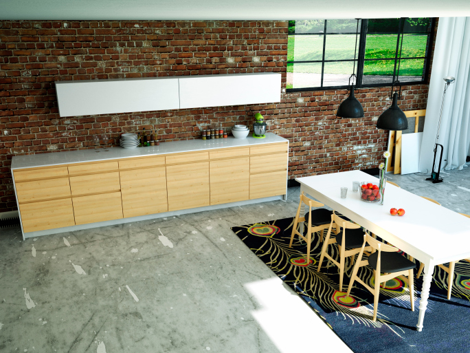 Loft kitchen with brick wall