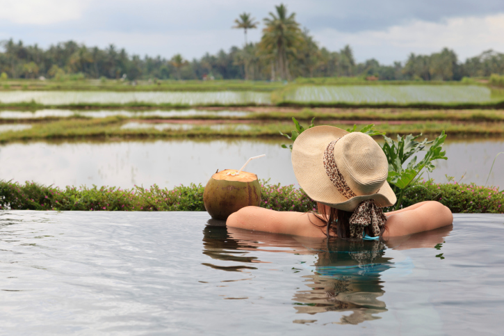 Infinity pool in rice fields