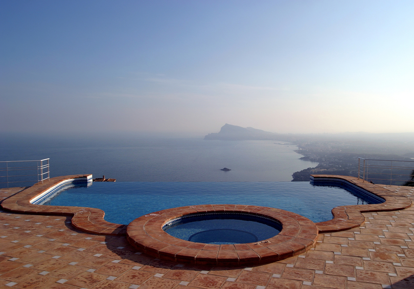 Luxury infinity pool and hot tub with amazing view