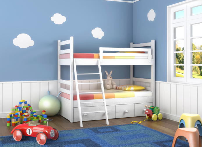 Second picture of kid s blue and white bedroom with white bunk bed  blue  rug in. 35 Fun Kid s Bedroom Ideas and Designs  Pictures