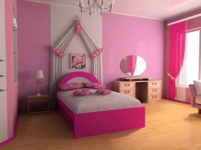 Bright pink bedroom with pink walls and bed on wood floor. 35 Fun Kid s Bedroom Ideas and Designs  Pictures