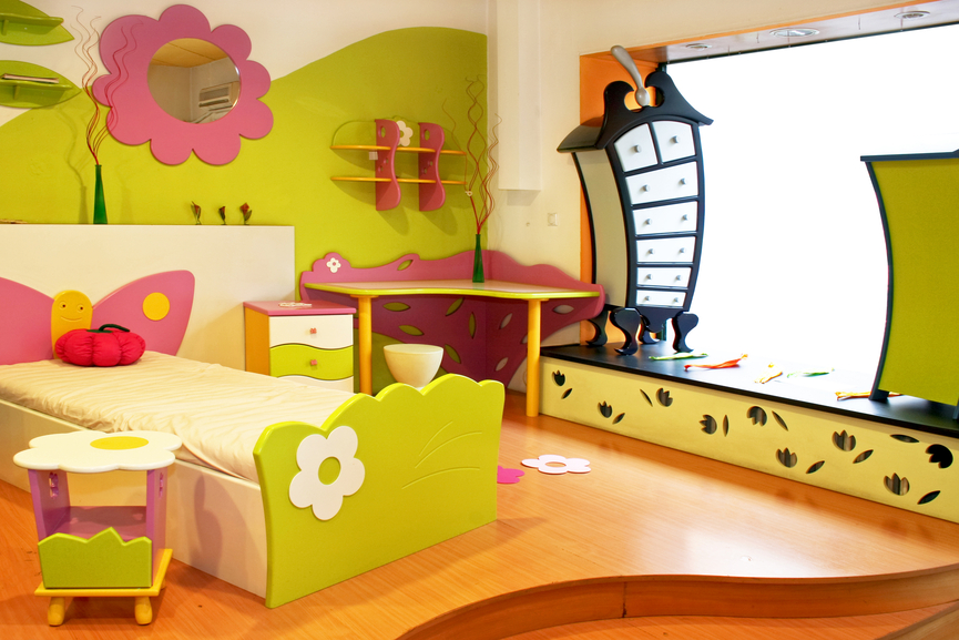 flower themed child 39 s bedroom with elevated bed area custom furniture