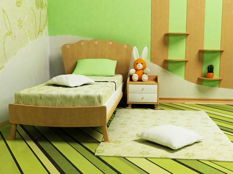 green bedroom for kids with striped green floor and walls with natural wood single bed