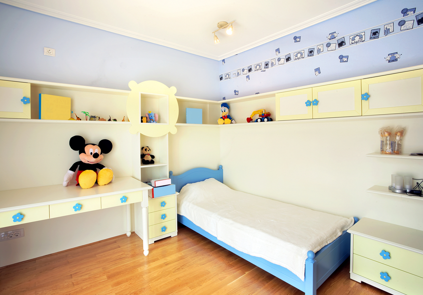 fun childs room with kids bed and built in desk