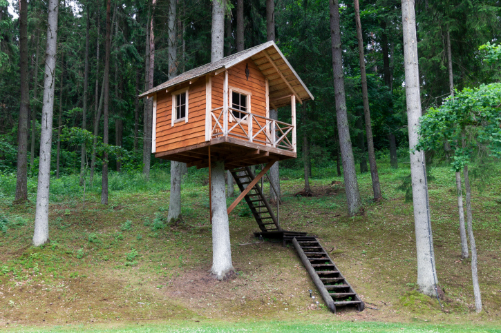 70 fun kids tree houses picture ideas and examples for Small tree house
