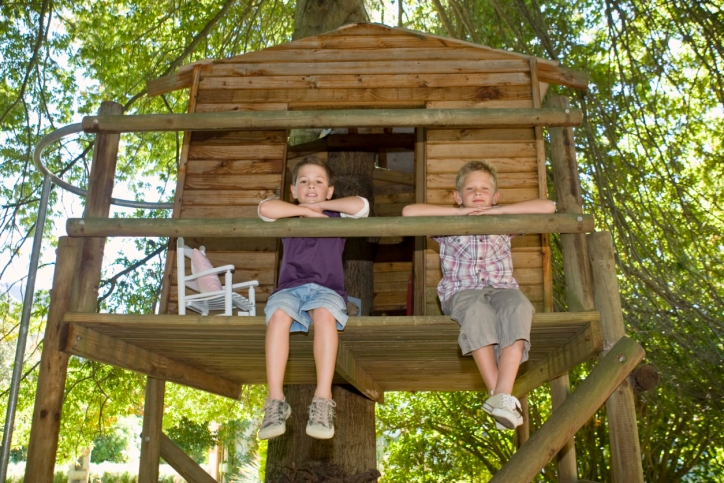 Solid wood tree house built with round logs supported by a tree stump and  wood posts
