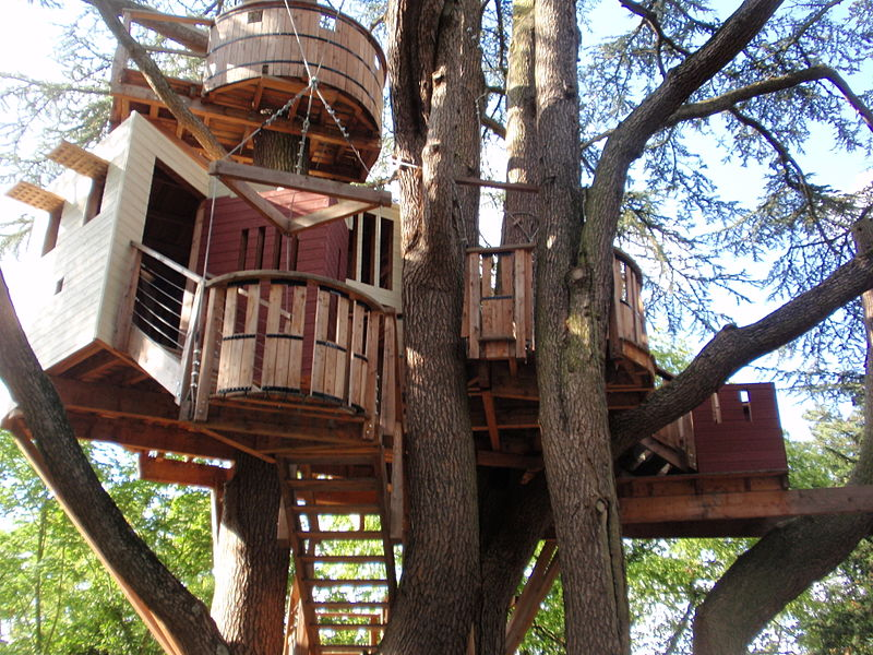 Tree house with multiple levels and decks built among two trees.