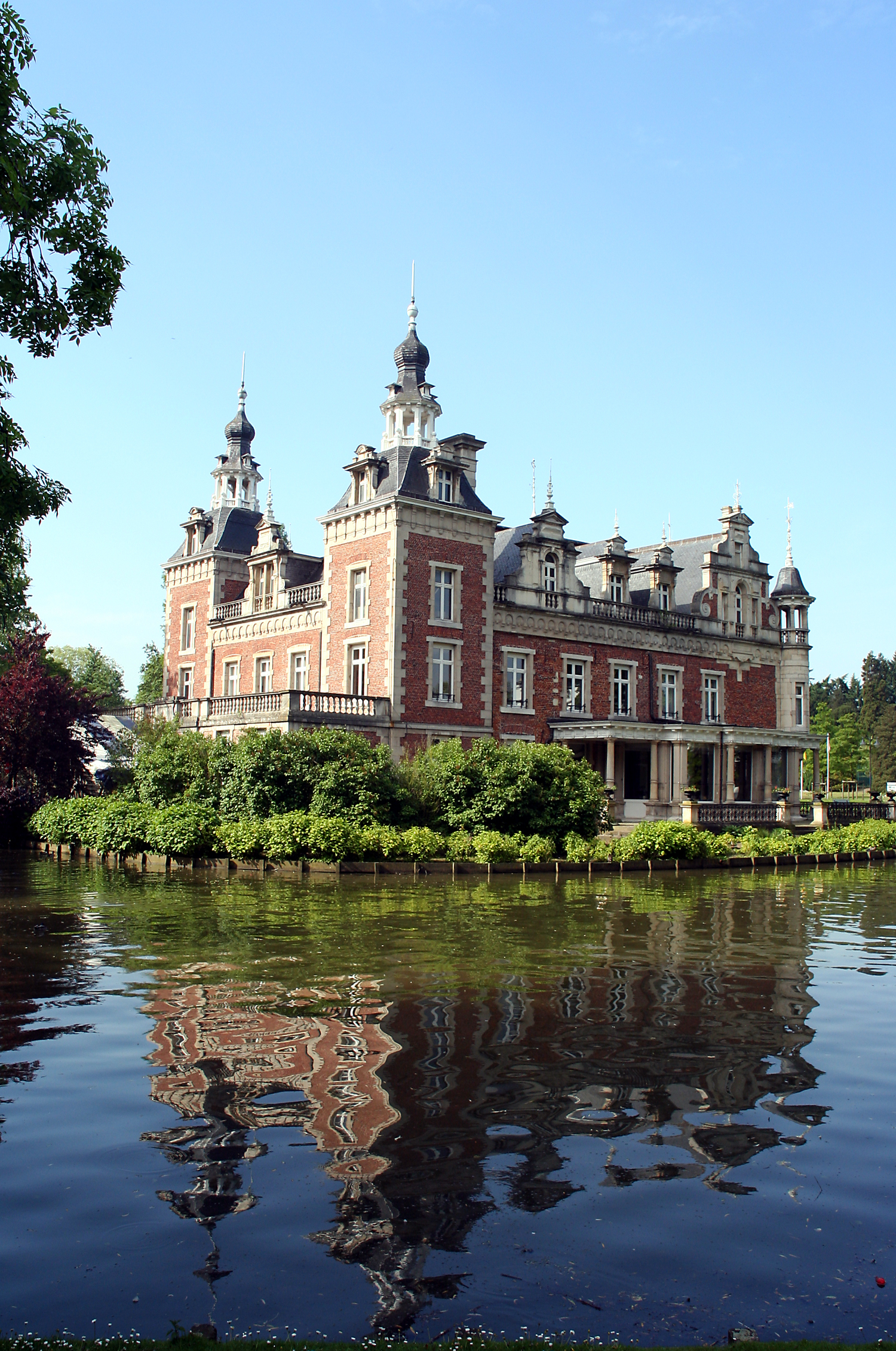 Palace on the lake in Belgium