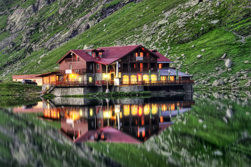 Remote home on mountain lake