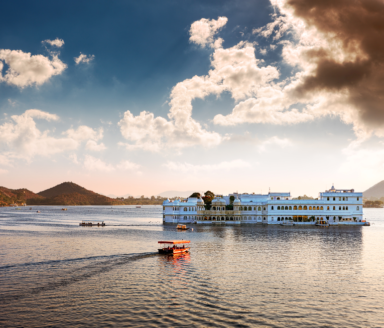 Famous Taj Palace on Lake Pichola in Rajasthan, India