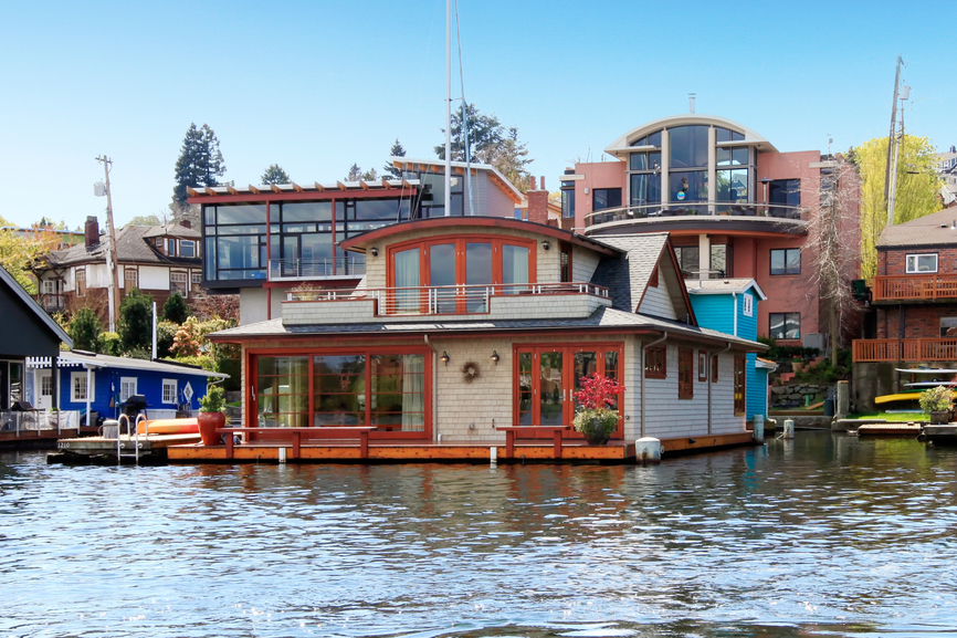 Two story floating home on lake