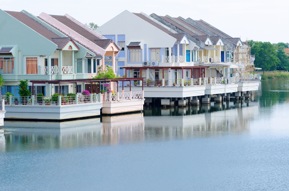 Row of floating homes