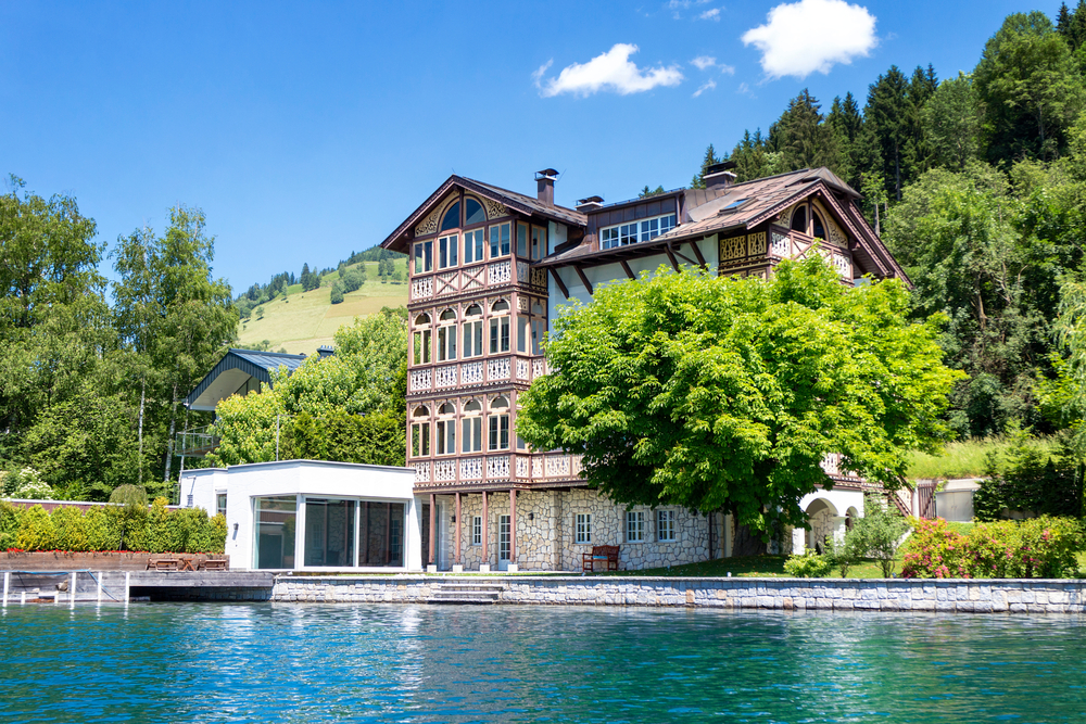 Old four story villa on the lake