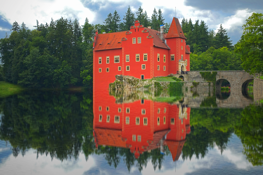 Eye-catching Red Water Chateau in Czech Republic