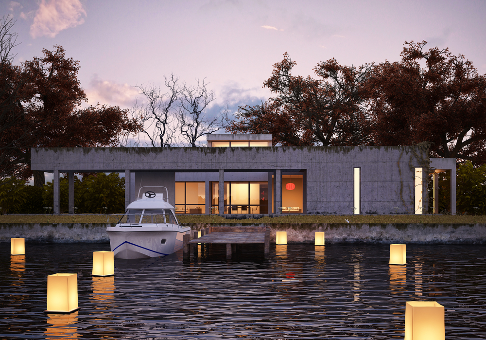 Modern lake home design with floating lights, private dock built on the edge of the water