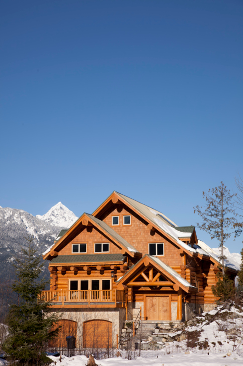 Luxury contemporary ski chalet log home on the mountain.