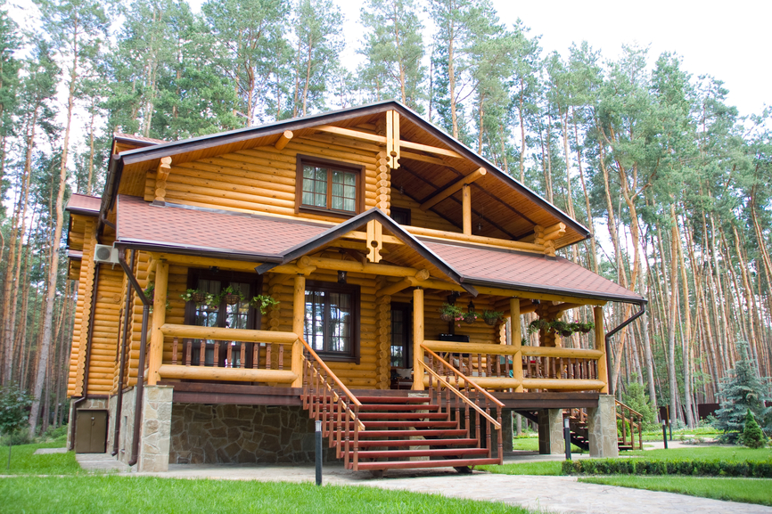 33 stunning log home designs photographs for Log home decks