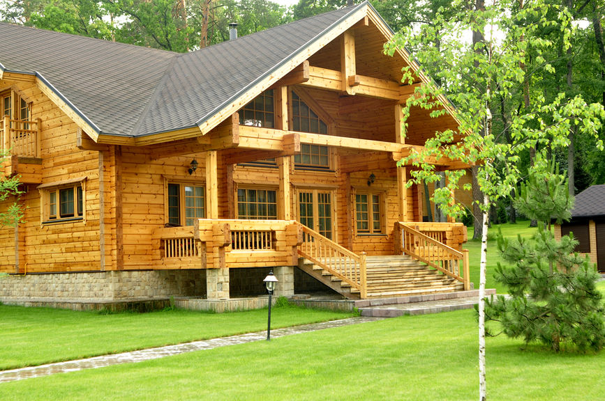 Log home with front porch.