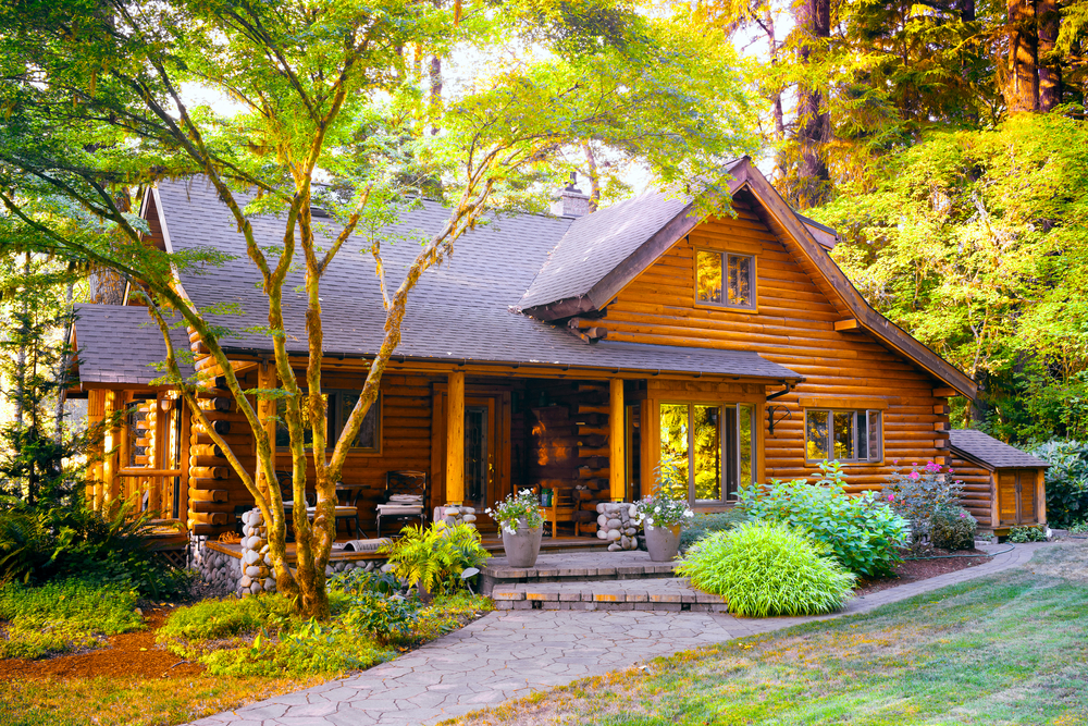 Suburban neighborhood log home with front porch