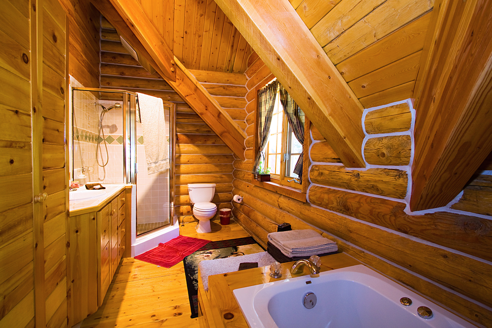 Bathroom inside a log home